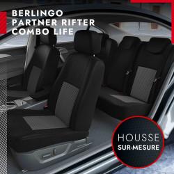 Housses de siège auto sur mesure pour Citroën Berlingo 2 [banquette] (de 04/2008 à 08/2018)